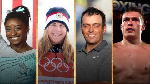 World Sport Star of the Year contenders Simone Biles, Ester Ledecka, Francesco Molinari and Oleksandr Usyk.
