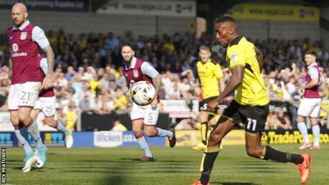 Lloyd Dyer scored Burton Albion's equaliser after 61 minutes against Aston Villa