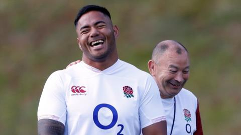 England's Manu Tuilagi and coach Eddie Jones