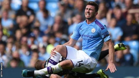 Manchester City defender Aymeric Laporte was injured in the 4-0 win over Brighton