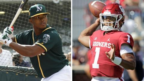 A split image of Kyler Murray swinging a baseball bat in training for the Oakland Athletics on the left and throwing an American football for the Oklahoma Sooners on the right