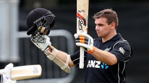 Tom Latham scored 104 off 111 balls as New Zealand set a winning score of 344-6