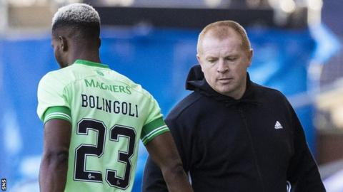 Celtic defender Boli Bolingoli and manager Neil Lennon