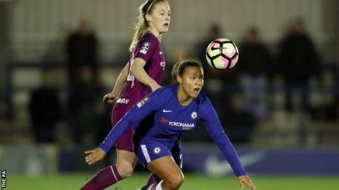 Drew Spence and Keira Walsh challenge during Chelsea against Manchester City