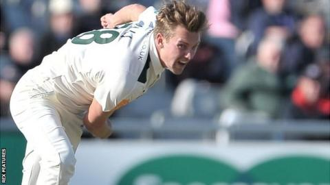 Jake Ball in action for Nottinghamshire