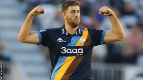 Ben Cotton celebrates dismissing Hampshire batsman George Bailey in the T20 Blast