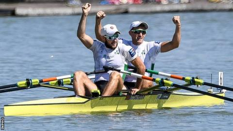 The O'Donovan brothers celebrate after winning World Championship gold in Bulgaria