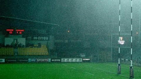 The scene at the Lanfranchi Stadium in Parma after the Zebre v Connacht match was called off