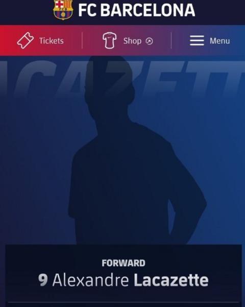 Lacazette's profile appeared on the Barcelona website