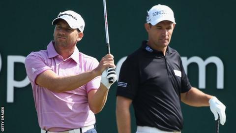 Sergio Garcia and Padraig Harrington at the 2013 Open