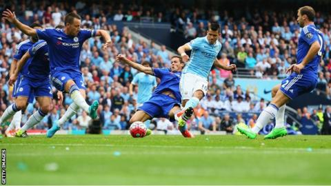 Sergio Aguero scores for Manchester City against Chelsea