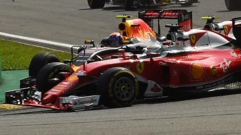 Max Verstappen and Kimi Raikkonen collide at Spa