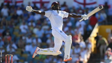 West Indies captain Jason Holder celebrates his double century