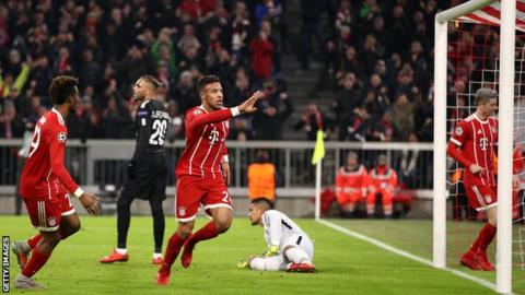Bayern Munich's Corentin Tolisso celebrates scoring against Paris St-Germain