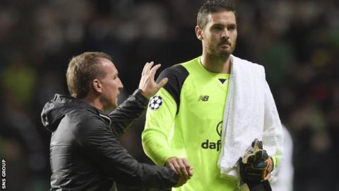 Craig Gordon is congratulated by manager Brendan Rodgers