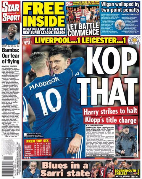 Star back page on Thursday