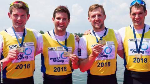 Great Britain's winning men's quadruple sculls team