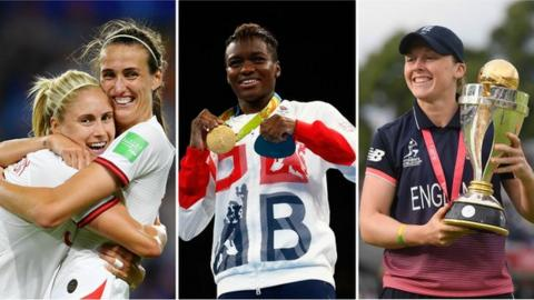 Steph Houghton, Nicola Adams and Heather Knight