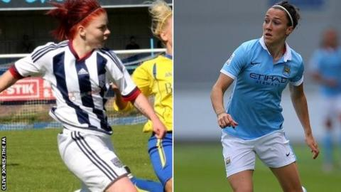 Sporting Club Albion's Leigh Dugmore (left) and Manchester City's Lucy Bronze