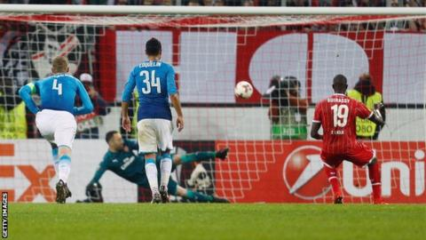 Cologne take the lead against Arsenal in the Europa League