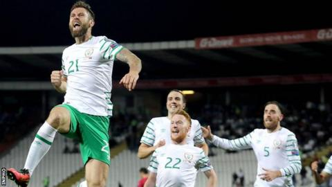 Daryl Murphy celebrates after equalising in Belgrade last month