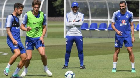 Antonio Conte oversees pre-season training at Chelsea