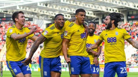 Jota of Birmingham City celebrates scoring at Rotherham