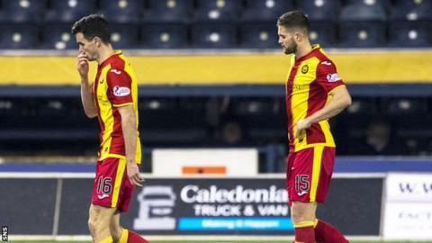 Dejected Paul McGinn and Jordan Turnbull of Partick Thistle after their thumping by Kilmarnock