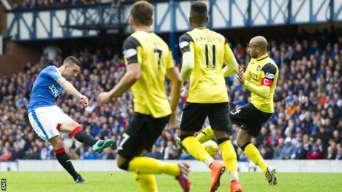 Lee Wallace scores for Rangers against Livingston