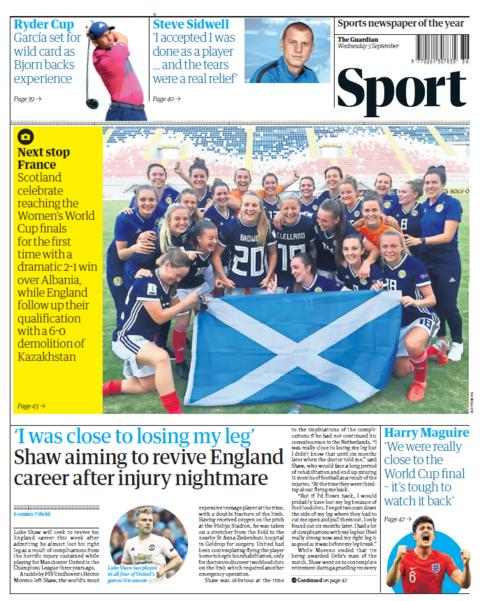Guardian sport section on Wednesday
