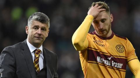 Motherwell manager Stephen Robinson and striker Louis Moult