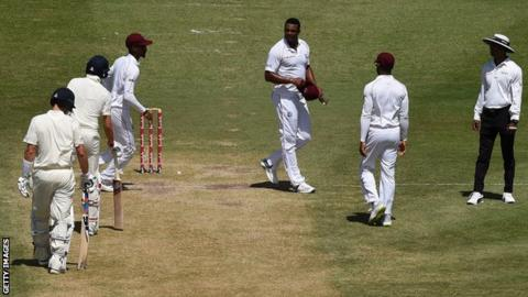 West Indies bowler Shannon Gabriel exchanges words with England captain Joe Root during the third Test