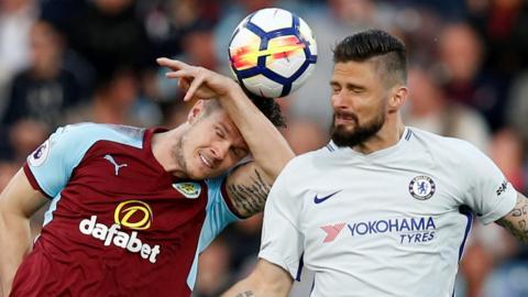 Chelsea's Olivier Giroud and Burnley's Kevin Long