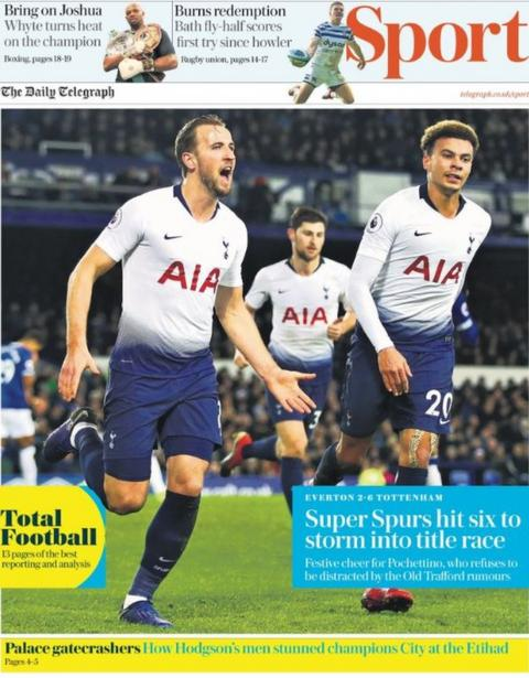 Monday's Telegraph sport section front page