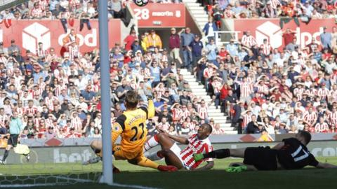 Liverpool keeper Simon Mignolet denied Saido Berahino his first Stoke goal on Saturday, saving with his legs near miraculously from point-blank range
