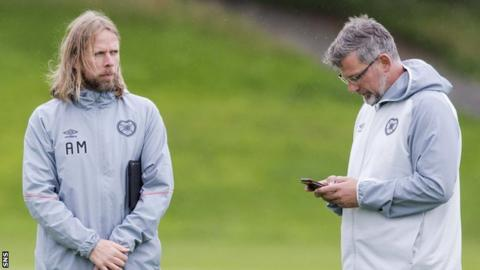 Hearts assistant Austin MacPhee and manager Craig Levein