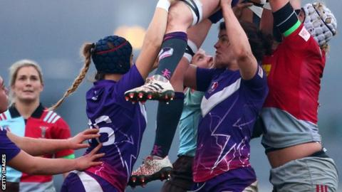 Sarah Hunter (second from right) in action for Loughborough Lightning