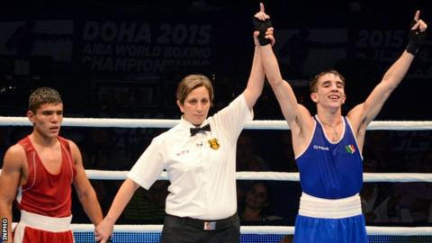 Michael Conlan celebrates after winning the gold medal at the World Championships in Doha