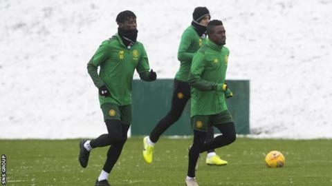 Soro (right) trained with Celtic on Tuesday at Lennoxtown