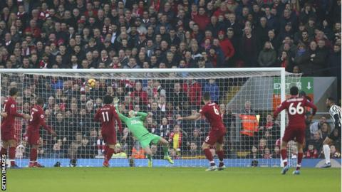 Dejan Lovren scores for Liverpool against Newcastle United