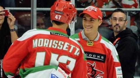 Tom Parisi was present at Devils' pre-season game with Nottingham on Sunday, meeting captain Jake Morissette