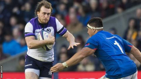 Jordan Lay in action against Scotland at Murrayfield