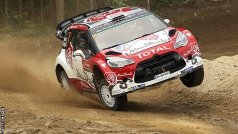 Kris Meeke in action on Thursday at the Rally of Portugal