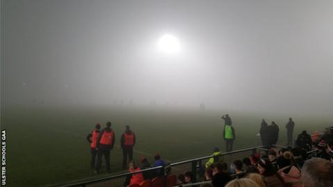 Dense fog halted the MacRory Cup semi-final replay at the Armagh Athletic Grounds