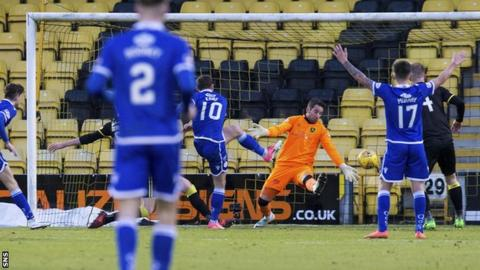 Queen of the South's Chris Kane scores against Livingston
