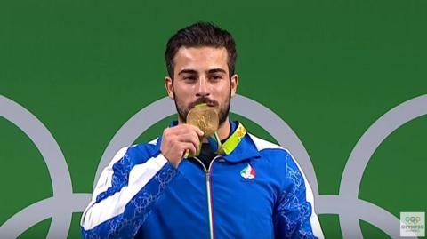 Kianoush Rostami wins gold in the men's 85kg weightlifting in Rio Olympics, August 2016