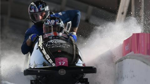 British bobsleigh athletes in action at the Winter Olympics