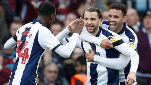 West Brom celebrate at Villa Park