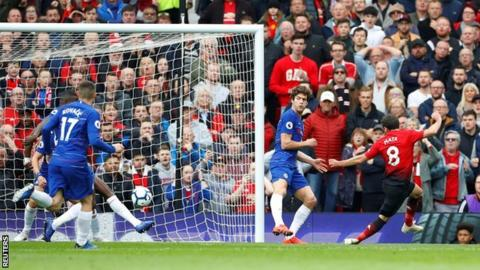 Juan Mata scores for Manchester United against Chelsea in April 2019