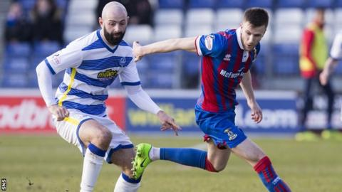 Moron's Gary Harkins and Inverness's Liam Polworth